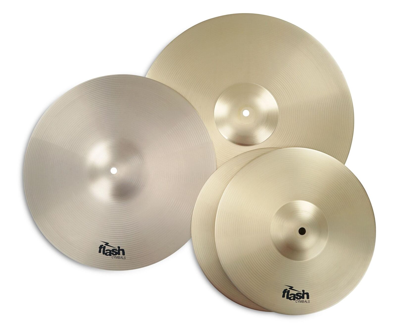 4x Flash Cymbals Ideal for Beginner Set 2 x 13'' Hi Hat + 16'' Crash + 18'' Ride