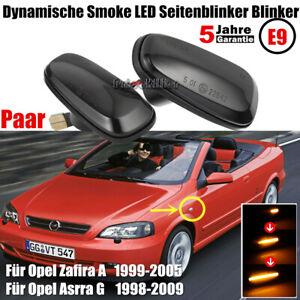 Paar-Schwarz-Smoke-LED-Seitenblinker-Blinker-Rauchglas-Fuer-Opel-Astra-G-Zafira-A