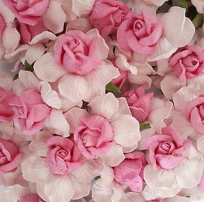 10 Pink Mulberry Paper Flowers Wedding Roses Headpiece Scrapbook Supply ZR40-34