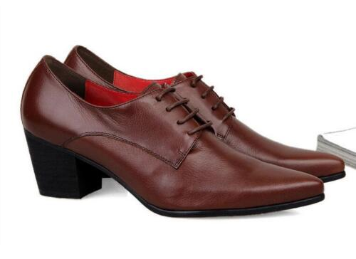 Fashion Mens Lace Up Pointy Toe Oxfords Formal Dress Shoes Cuban Heels A69