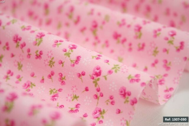 Small Pink flower buds100% cotton fabric with 1.60m  FLAWS [1307-030]