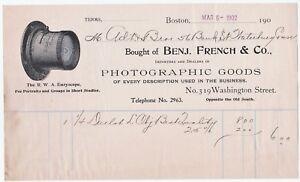 RARE-Advertising-Billhead-1902-Benjamin-French-Boston-Photographer-Camera-Lens