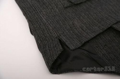 Mens Formal Tweed Wool Blend Stripe Lapel Collar Slim Fit Vest Waistcoat Retro