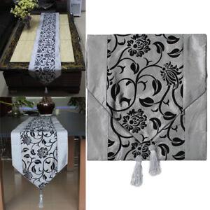 Tischband-Tischdecke-Laeufer-Silbergrau-Tischdekor-Quaste-Tischlaeufer-De-NQQ
