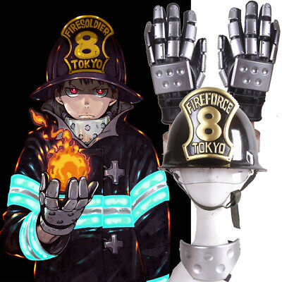 Fire Force Cosplay Hat Helmet Armor Gloves Halloween Handmade Prop Accessory