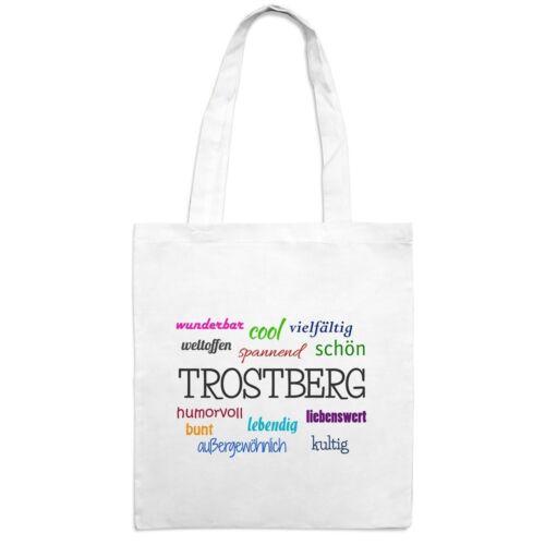 Motiv Positive Eigenschaften Jutebeutel mit Stadtnamen Trostberg