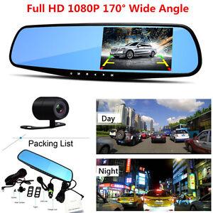HD-1080P-4-3-034-Car-Dash-Camera-Dual-Lens-Front-Rear-DVR-Video-Recorder-G-sensor