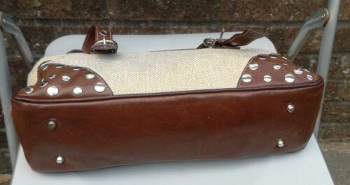 Width intrecciato tessuto Larghezza borsa Handbag Beige in Via Borsa mano a Style 15 Repubblica Via in pelle Woven 15 marrone Repubblica beige Tote Leather Brown e Axq7PS