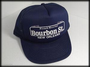 034-Bourbon-St-New-Orleans-French-Quarter-034-Trucker-Cap-Hat-Snapback-Navy-Blue-Mesh