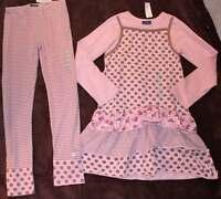 Naartjie Pink Brown Spotty Ballerina Dress Striped Dot Leggings 10 Yrs.