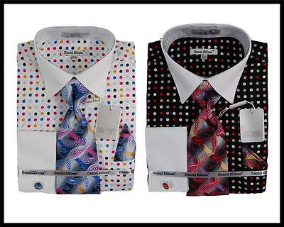 New Daniel Ellissa Multi Color Polka Dot Dress Shirt,Tie,Cufflinks DS3769P2