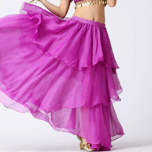 Maroon TMS Spiral Skirt Belly Dance 3 layer Full Circle Gypsy Club 25 Color