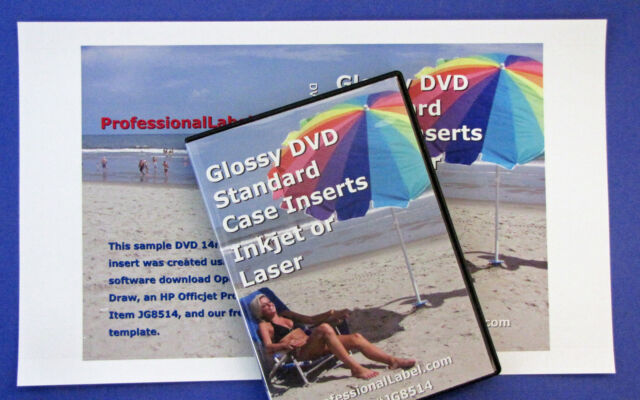 dvd case inserts wraps glossy for inkjet or laser printers jg8514