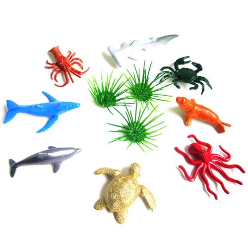 8 un vida Marina Mar Delfín Conjunto Animal Tiburón Niños Regalo Tortuga Cangrejo Modelo Juguete su