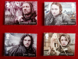 Game-of-Thrones-HOUSE-STARK-Set-of-4-FIRST-CLASS-ROYAL-MAIL-STAMPS-MINT