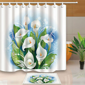 Image Is Loading Floral Flower Fabric Shower Curtain Set Calla Lily