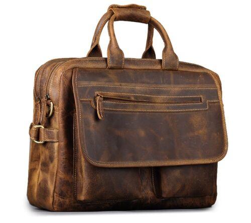 """Buffalo Leather Briefcase Messenger Bag 17/"""" Laptop Satchel Office Shoulder Bag"""