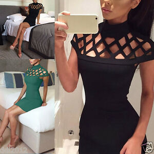 Womens-Choker-High-Neck-Bodycon-Ladies-Laser-Cut-Out-Caged-Sleeves-Mini-Dress