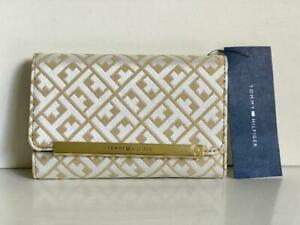 NEW-TOMMY-HILFIGER-GOLD-BROWN-MEDIUM-FRENCH-TRIFOLD-CLUTCH-WALLET-35-SALE