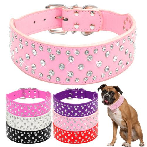 Bling Rhinestone PU Leather Dog Collars for Medium Large Dogs Pitbull S M L XL