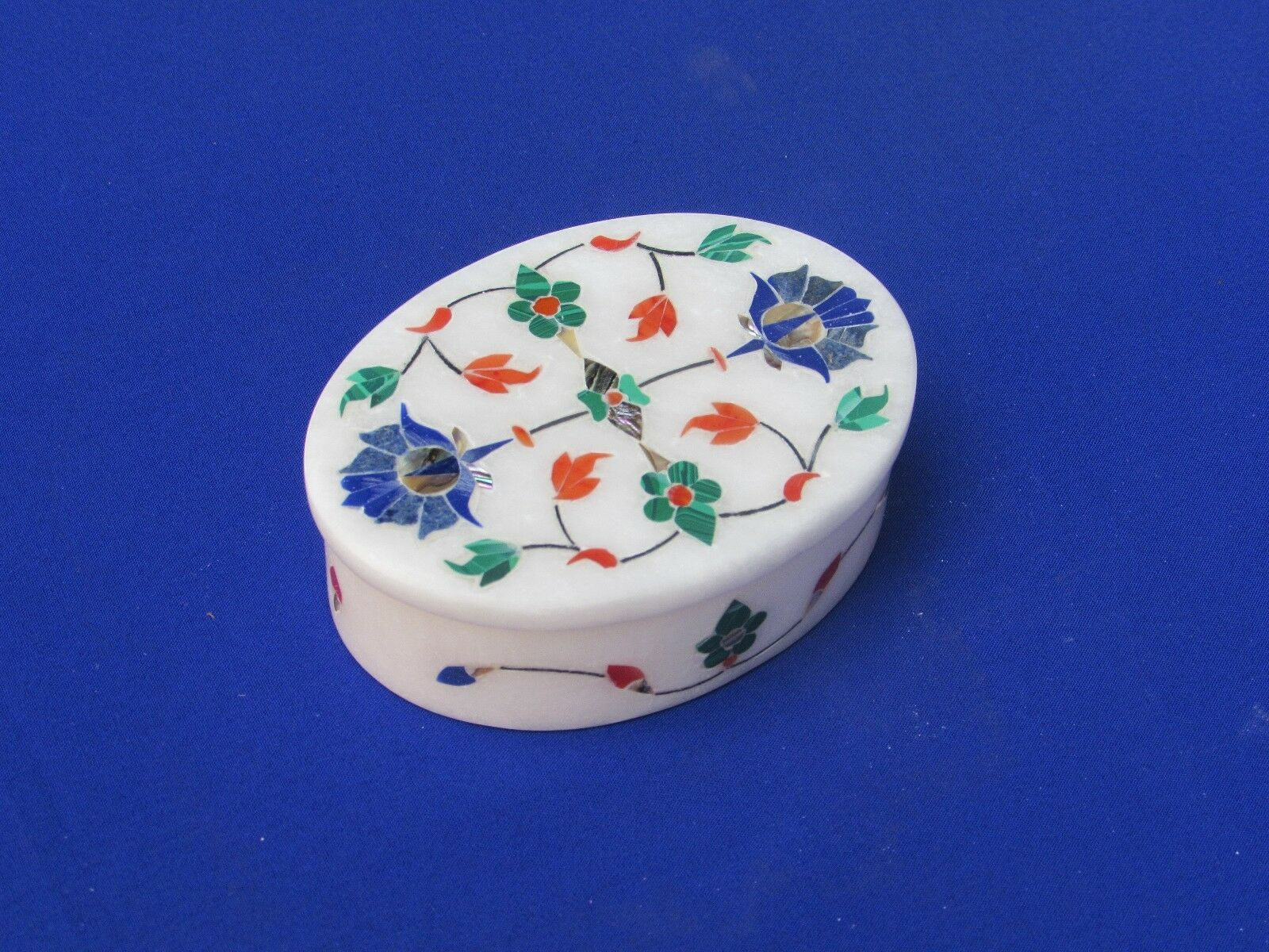Marble Jewelry Box white Stone Inlay Art Work Pietra Dura for Home Decor
