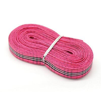 "20 Yards(18M) Pink Plaid Grosgrain Ribbon Polyester 5/8"" Craft Wedding Scrapbook"