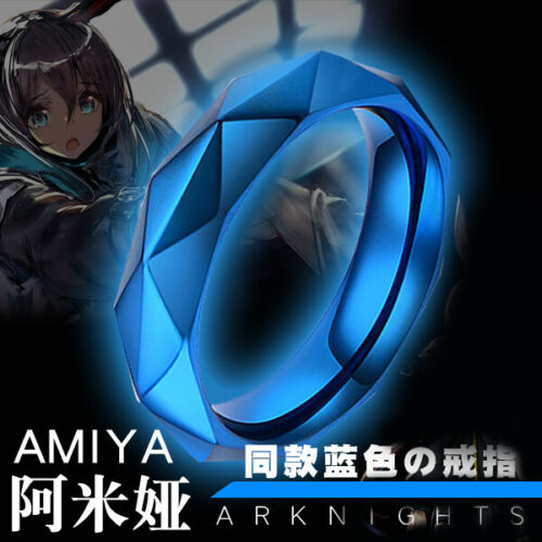 Anime Arknights Amiya Cosplay Adjustable Ring Necklace Pendant Stainless Steel