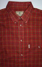 Mens 2XL XXL Berreta Red Plaid Cotton Twill Button Down Collar Shirt 37 Sleeve