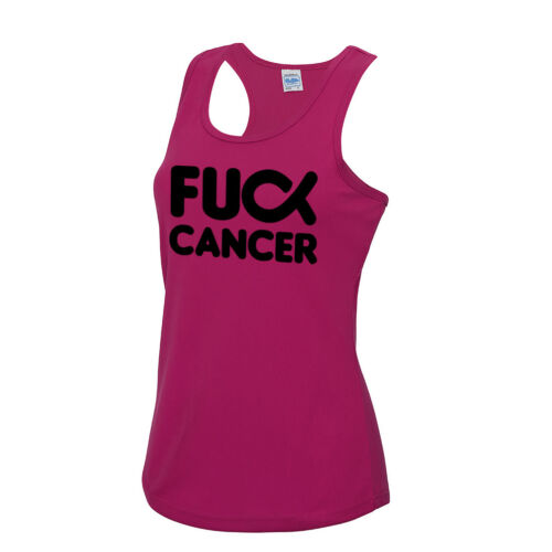 Ladies FU** Cancer 2019 Sports Vest Race Training Running Top For Life Charity