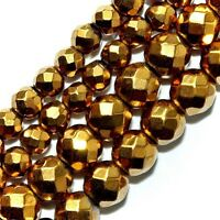 Magnetic Hematite Beads Faceted Gold Plated 6mm Round 16strands