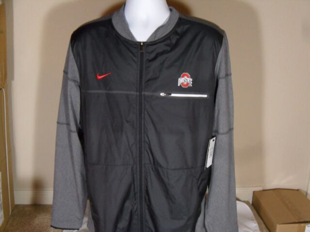 9eb5f0626d2 Nike Ohio State Buckeyes Men s L Elite Hybrid Jacket Full Zip Grey Black A01