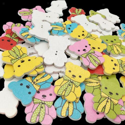 50Pcs Animal Bear Wood Baby/'s //Kid/'s Buttons 32*23mm Sewing Craft