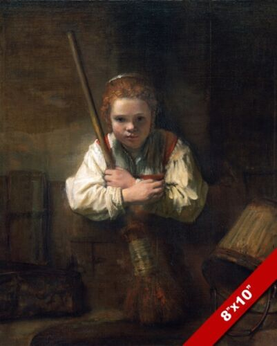 YOUNG GIRL CHILD MAID W BROOM /& BUCKET 17TH CENT PAINTING ART REAL CANVAS PRINT