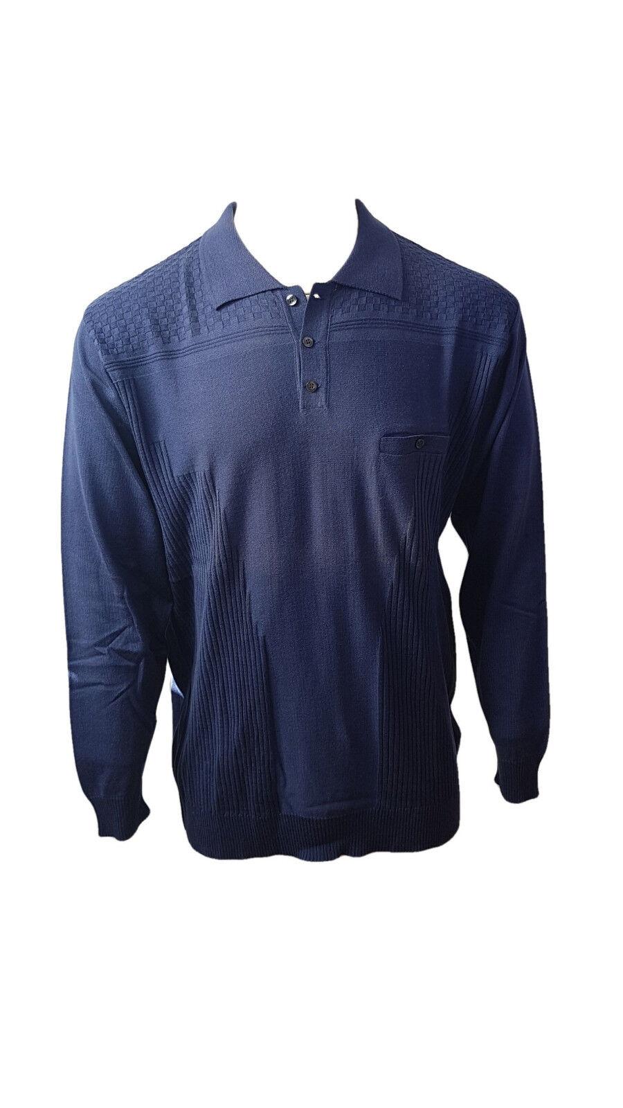 Pull BERAC col polo boutonné 8160 blue indigo T. 2 (S) Prix. Maga.