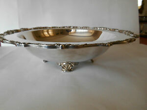 BOWL ROUND SILVERPLATE FOOTED /CRADLE FOR PYREX CASSEROLE 8.5 IN.,FILIGREE EDGE