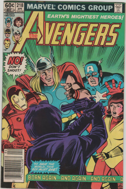 Avengers 218 Marvel 1982 NM Captain America Iron Man Thor Gun Suicide Cover
