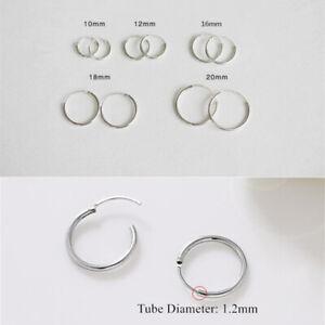 925-Sterling-Silver-Filled-Hinged-Hoop-Sleeper-Circle-Ring-Earrings-Women-Men-UK