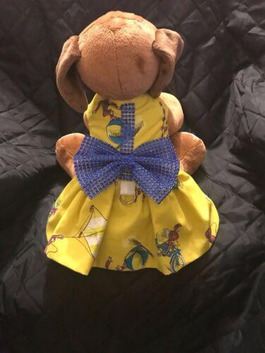 Cute Curious George Pet Dress Dog Dress with Leash hook rhinestone bow detail