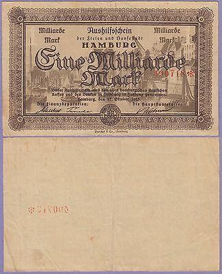 "Germany""Hamburg""1 Milliarde Banknote,12-10-1923 Choice Fine Condit,Cat#2109-O718"