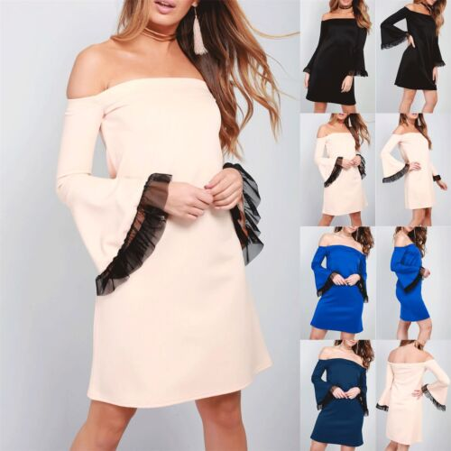 Ladies Womens Bell Sleeve Off Shoulder Bardot Frill Casual Flared Swing Dress