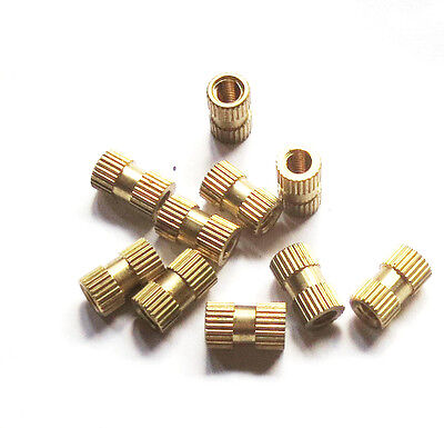 New 20pcs Brass Knurl Nuts M4*10mm(L)-6mm(OD) Metric Threaded nuts/ insert round