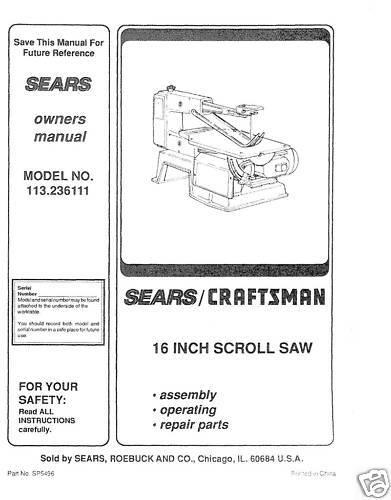 "Craftsman 16 /"" Scroll Saw Manual Model # 113.236111"