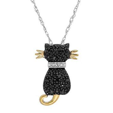 Finecraft 1/5 ct Black & White Diamond Two-Tone Cat Pendant Necklace