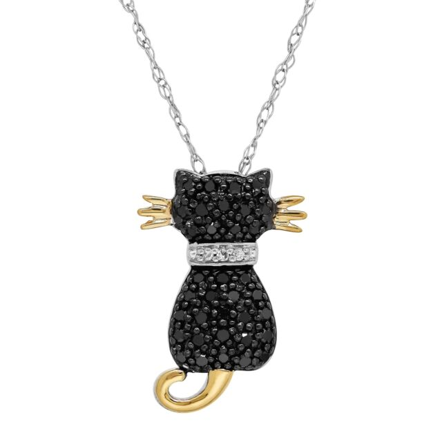 f07b663b68223 Sterling Silver and 14k Yellow Gold 1/5ct Black Diamond Cat Pendant