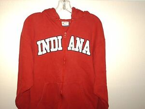 Mens-CADRE-Athletic-INDIANA-Large-Zip-Up-Sweatshirt-Hoodie-Red-Excellent-Cond