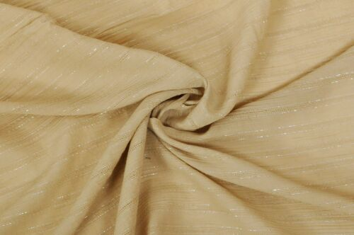 BEAUTIFUL BEIGE CREPE GOLD LUREX THREAD FABRIC DRESS CRAFT CLOTHING CUSHION HOME