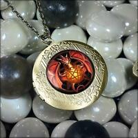 Inverted Pentagram Gothic Dragon Antique Bronze Glass Pentacle Locket Necklace
