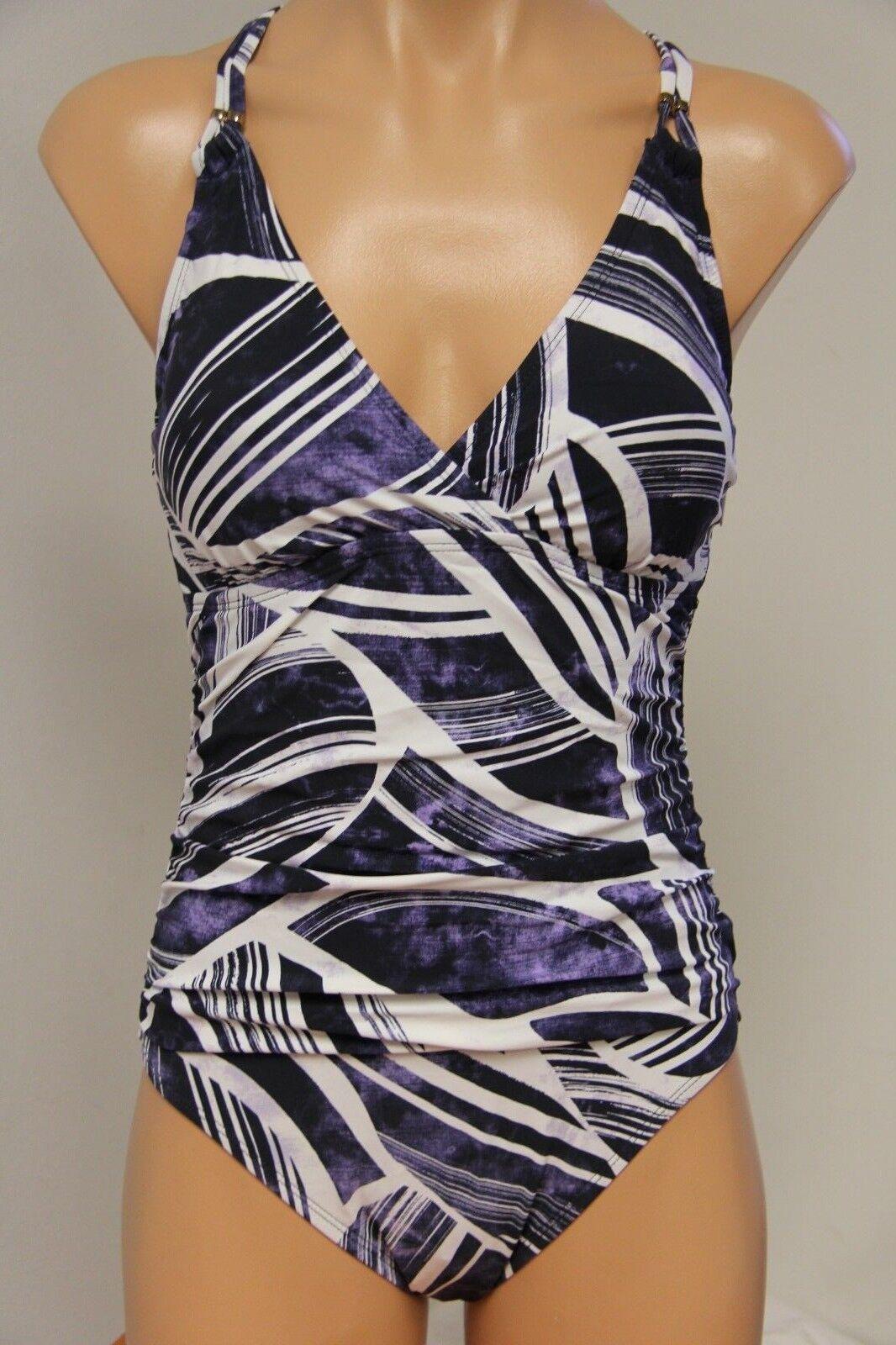 NWT La whitea Swimsuit Bikini 1 1 1 one piece Sz 12 Midnight MID 740b42