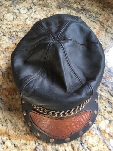 Vintage HARLEY-DAVIDSON Leather Hat CAPTAIN Motorc