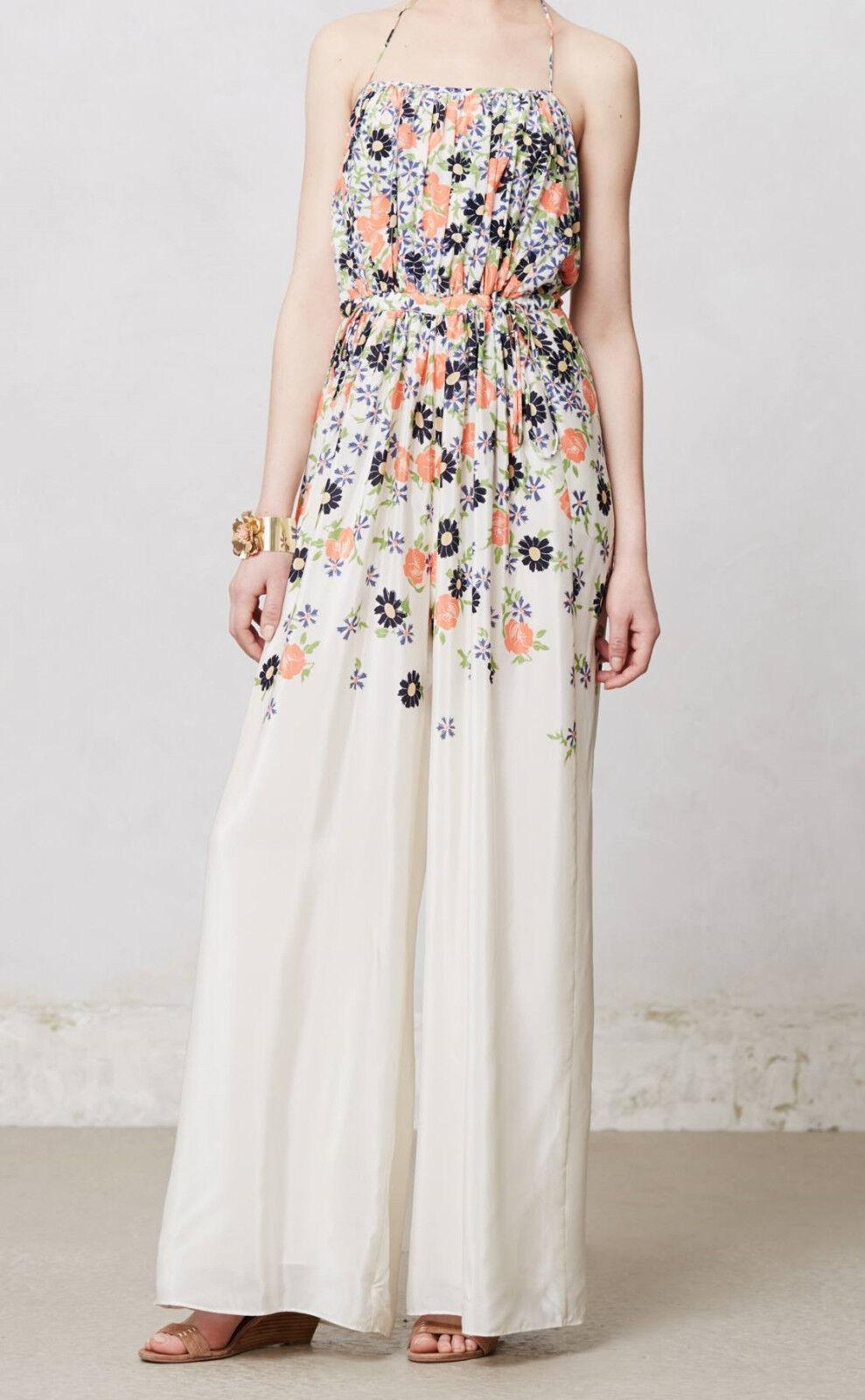 Elevenses Silk Tupsa Pleated Jumpsuit Sizes 10, 14 Multi NW ANTHROPOLOGIE Tag